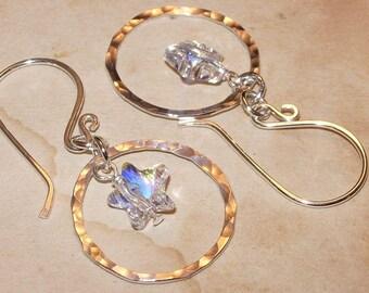 Sterling Silver Hoop Earrings, Swarovski Star Crystal, Handmade Jewelry
