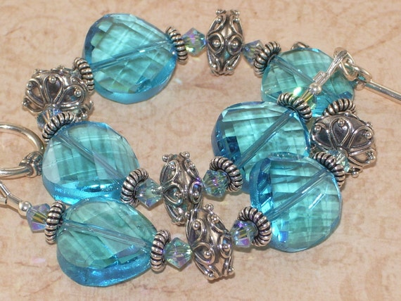 Chunky Blue Bracelet, Quartz, Coin, Crystal, Swarovski, Bali, Sterling Silver, Handmade Jewelry