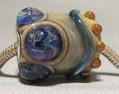 Lampwork Glass Bead European Charm Pandora Style Iris Garden