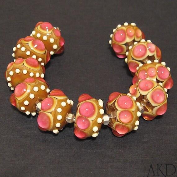 Lampwork Glass Beads Set, SRA Handmade Round Beads AKDesigns Wicked Pink Rose Buds