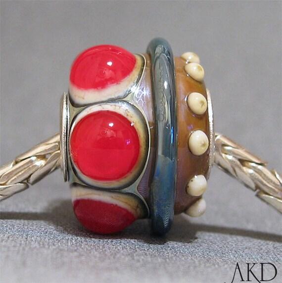 SRA European Charm Big Hole Bead OOAK Red Lampwork Glass Bead Fits Troll Bracelet Queen's Crown