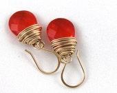 Gold Filled Wire Wrapped Earrings, Gold Jewelry, Everyday Earrings, Bright Red Quartz Earrings, Dangle Earrings, Red Earrings