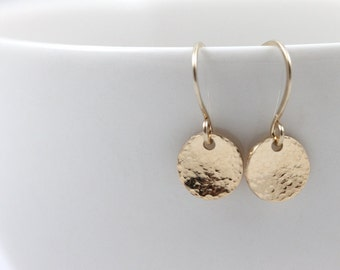 Mother's Day, Minimal Earrings, Gold filled disc earrings, Dangle earrings, Dainty earrings, Drop earrings, Gold disc earrings