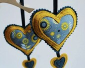 "ORNAMENT - Pair of ""Folk Hearts"" in Dijon"