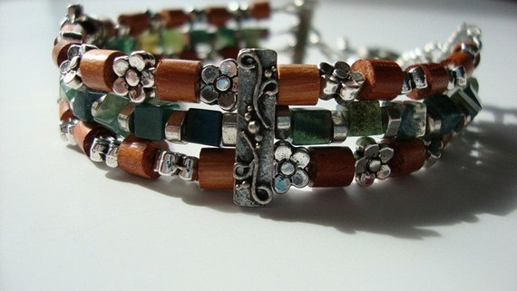 Three Strand Wood and Moss Agate Bracelet FREE Shipping