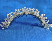 Tiara Comb Couture Swarovski Crystal and Freshwater Pearl Tiara Comb  Clusters of Wired Pearls and Crystal on Metal Comb