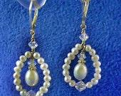 Bridal Wedding Earrings Teardrop Freshwater Pearl Pendant Hanging Inside open Freshwater Pearl and Swarovski Crystal Teardrop SS Findings