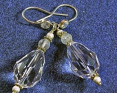Wedding Bridal Earrings Moonstone and VERY Large Swarovski Crystal Pear Drop on CZ Sterling French Hook Earring finding