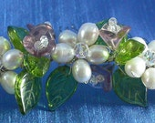 Headpiece Bouquet Freshwater Pearl and Glass Flower Comb