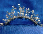 Bridal Tiara Comb Twisted Curled Tendrils Sterling Silver Wire Freshwater Pearls and Swarovski Crystal in Free Spirited Design