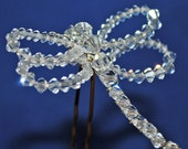 Headpiece Hairpin Petite Swarovski Crystal Dragonfly Hairpin or Pin or Pendant
