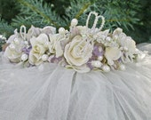 Bridal Wedding Headpiece Garden Floral Wreath styled Crown with Freshwater Pearl, Swarovski Crystal Dragonflies, and Winged Veil
