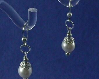 8.5 mm Pearl Drop Earring with Bali Silver Cap