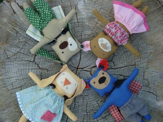 Square Pegs Doll Pattern- cat, bear, dog, bunny rabbit