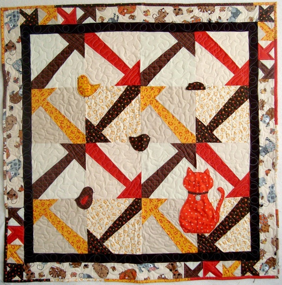 Tag Quilt Pattern with Plushie Cat