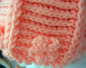 Orange Baby Hat Knitted and Crochet REDUCED TO CLEAR
