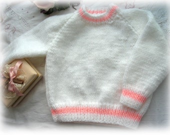 White and Pink Baby Sweater SALe Reduced to clear