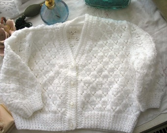 REDUCED Lacy White Baby Cardigan 12 Months