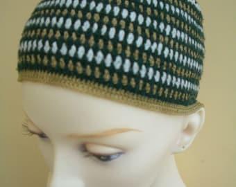 Cotton Skullcap Green gold white