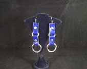 Blue Patent Leather Earrings
