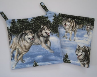 Wolves Running in Snow... Wolf Potholders
