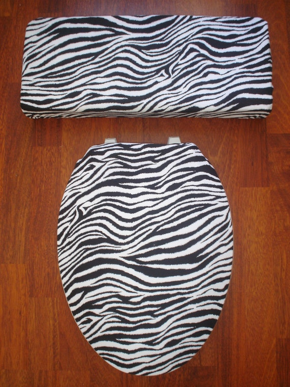 Zebra Toilet Seat Tank Lid Covers Black And White
