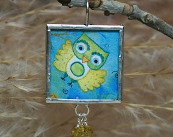 Owl pendant soldered charm