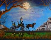 Halloween Art Print Titled Halloween Honeymoon by Christine Altmann Art