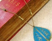 ON SALE . Nimbus . Etched Pendant, Brass Bar Chain, and Vintage Loveliness
