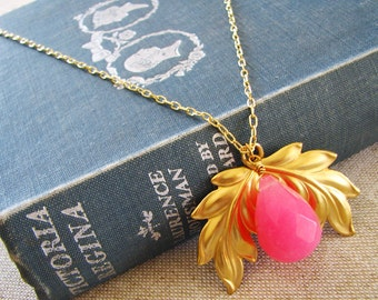 Luxe Leaf . Bright Pink Jade, Golden Leaf, and Long Chain