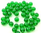 6mm Czech Glass Druk Beads, Emerald Green, 70 beads, cg192