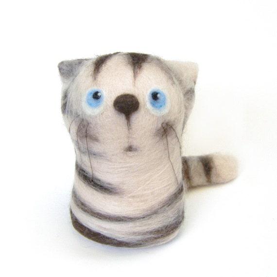 Fedor, the Chocolate Tabby - felt art toy