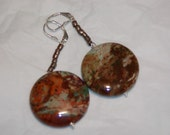 Large African Opal Disc Earrings