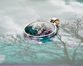 "Aqua Photo Jewelry, photo pendant set in round silver colored metal, ""If You Listen"" blue and white trees wearable art"