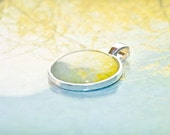 Cottage Chic Jewelry - Willow-photo pendant wearable art round silver colored metal - blue yellow cottage chic jewelry