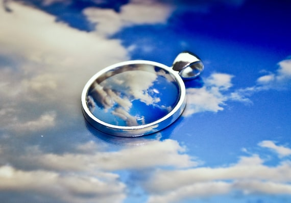 Royal Blue Photo Jewelry-Scenes in the Clouds - Puffy white clouds blue sky  jewel tones photo pendant round circle silver colored metal