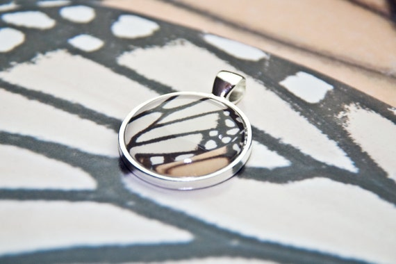 Butterfly Jewelry -  butterfly jewelry fashion Light Orange black monarch butterfly wing photo pendant silver metal butterfly jewelry