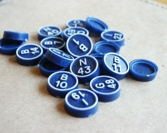 Vintage Bright Blue Bingo Markers- Set of 30