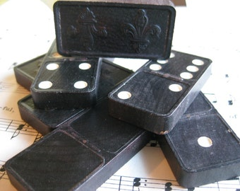 Vintage Dominoes Game Pieces- Set of 6