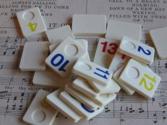 RESERVED- Vintage Miniature Rimmikub Game Pieces- Set of 11