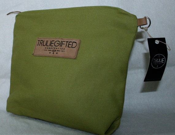 Leather and Lime Green Canvas Cosmetic Bag
