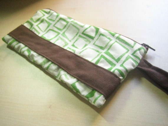 Green and Brown Cotton Wristlet - Valentines Day Gift for her under 25