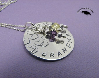 Personalized Hand Stamped Grandma Hearts Pendant Necklace with Birthstones