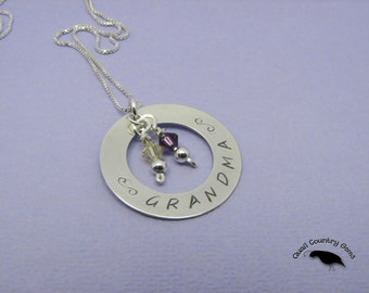 Personalized Grandma Hand Stamped Silver Washer Pendant with Swarovskis as Birthstones