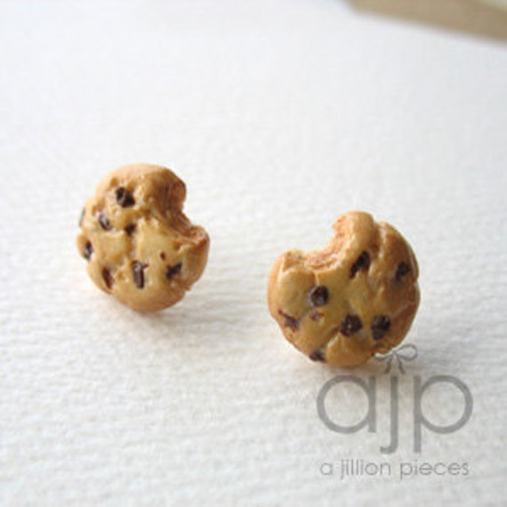 Bitten Chocolate Chip Cookie Earrings  (Sterling Silver) - FREE SHIPPING - High Quality Assembly, No Glue