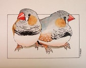 RESERVED for Akiko, Original Finches Watercolor Painting