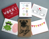 YOU CHOOSE SIX -- Gocco Greeting Cards Variety Pack