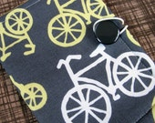 Yellow and Gray Bicycles Tea Bag Holder / Mini Wallet