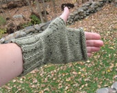 Green tweed ladies fingerless mittens