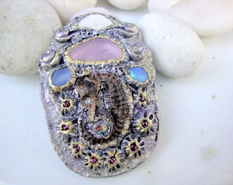 Whimsical Seahorse and Lavender Seaglass Brooch